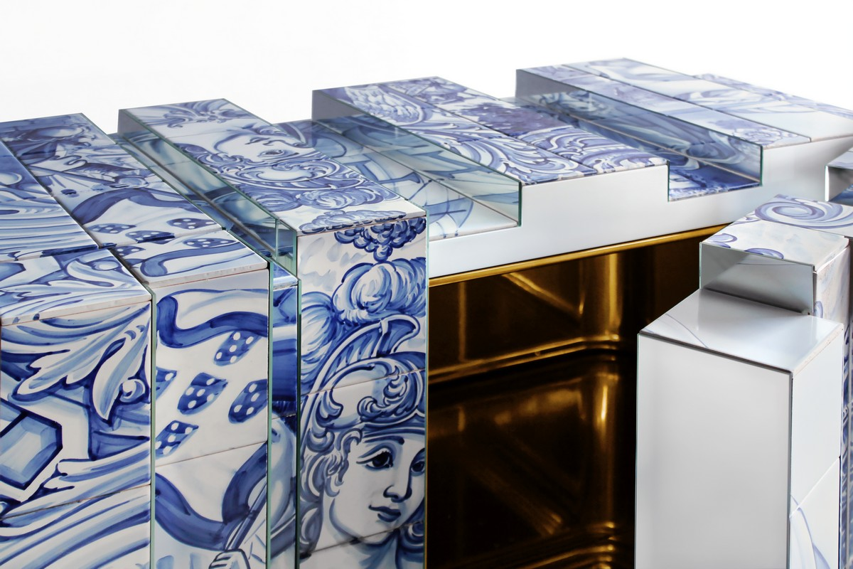 The Unique Sideboard Made With Hand Painted Tiles | Everyone knows that hand painted tiles are a true Portuguese tradition that shows off centuries and centuries of history and customs. #interiordesign #homedecor #luxurydesign #heritage #tiles