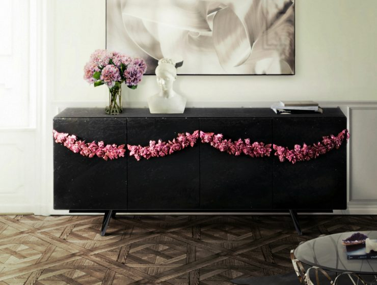 Elegant Black Sideboards To Complete Your Design Projects | This unique shade brings elegance and sophistication to any design piece. #blacksideboards #sideboards #buffets #interiordesign #homeinteriors